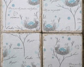 FRENCH SHABBY CHIC Bird's Nest Coaster Set - 4 Tumbled travertine stone coasters