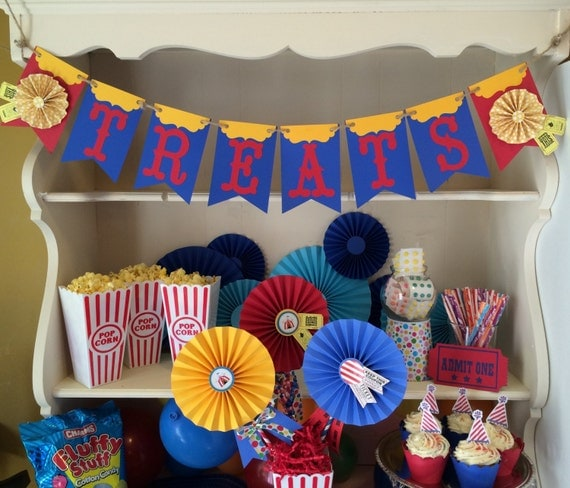 Greatest Carnival / Circus Party Banner for Dessert Table or Candy Buffet  WU62