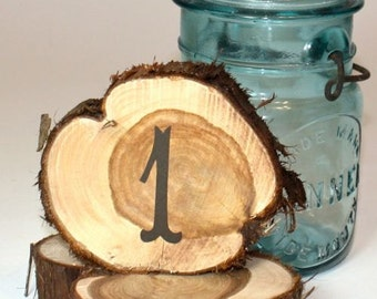 Wedding Table Numbers, rustic cedar circles, set of 19, natural unfinished cedar wood for rustic or woodland weddings