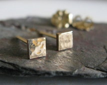 Tiny square post earrings. Minimalist studs 14k gold filled, sterling silver or solid 14k gold. Itty Bitty Teeny. Smooth or textured finish.