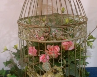 Birdcage Vintage Floral - with Silk Flowers and Bird