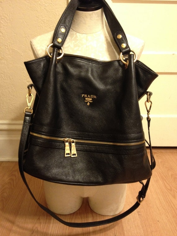 PRADA bag black leather purse slouchy oversized tote by AGORAPHOBE