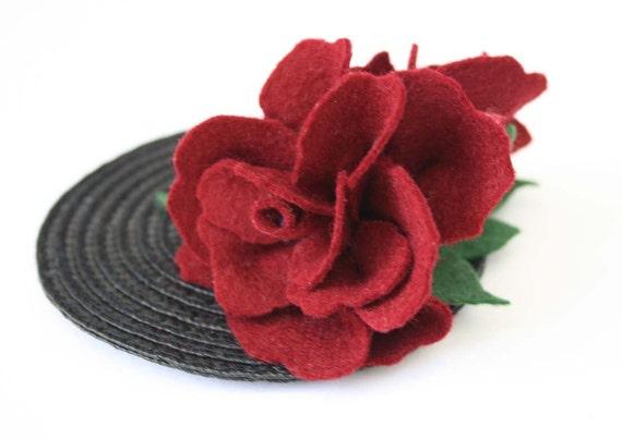 Burgundy Red flowers fascinator - Vintage felt hair Accessory - felt hair accessory - unusual hair flower - vintage wedding fascinator