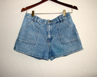 Hipster Cargo Denim Shorts // Fly Girl Shorts // Vintage Summer Shorties 5 W 28 29