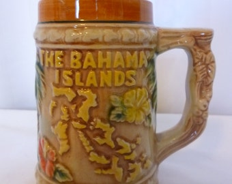 SALE Vintage Souvenir Beer Stein, Bahamas, Small, 8 oz.