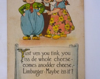 Vintage Postcard, Edwardian, Dutch Children, Limburger Cheese, Fart Humor