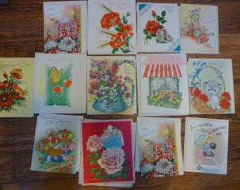 Lot of 13 Used Get Well Greeting Cards 1954