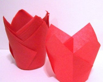 24 Red Tulip Cupcake Liners