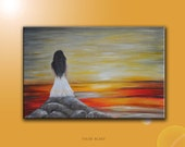 "Original modern people figurative painting.  ""Waiting"". Lady in white dress at sunset. Romantic. Grey Red Yellow. Free Shipping inside US."