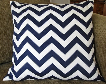 Decorative Pillow Covers,  ONE 18 x 18, Navy and White Chevron Strip Cotton Twill, Zipper Closure