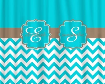 Custom Shower Curtain -Solid Top with Chevron Bottom -Personalized - Any colors