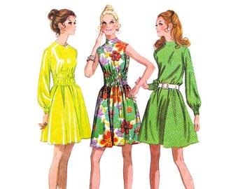 Womens Dress Pattern McCalls 2386 Flared Dress Gathered Midriff Dress | Womens Sewing Pattern Bust 34 Vintage 70s Pattern