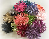 Ribbon Daisies, Flower Brooch, Hairclips, Choose Your Colour, Spring, Summer, Hats, Scarves, Lapels and Pocket Books, Handmade in the USA