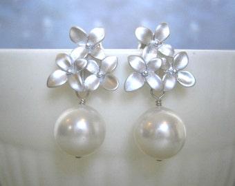Clearance Sale, Pearl Earrings, Flower Earrings, Silver Earrings, Post Earrings, Wife Gift, Christmas Gift