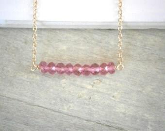 Pink Necklace, Gemstone Bar, Pink Quartz Necklace, Gold Necklace, Gemstone Necklace