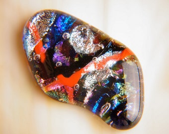 Handmade Dichroic Fused Glass Focal Cab Bead