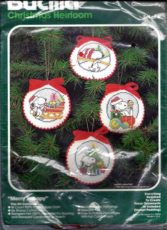 """Vintage Bucilla Christmas Heirloom Counted Cross Stitch Kit, 4 """"Merry Snoopy"""" Ornaments, 1965 Peanuts Characters"""