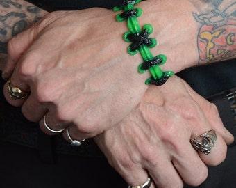 Zombie Frankenstein Psychobilly Stitch- The Original  VonErickson Stitch Bracelets-2pc Set - wide Brite Monster Green