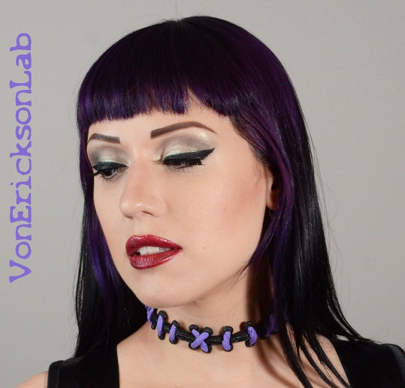 Halloween Jewelry  - Purple  and Black with wide  stitches necklace Choker