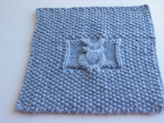 Knit Pattern For Owl Dishcloth : Items similar to Hand Knit Denium Blue Owl Dishcloth or ...