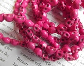 Hot Pink Howlite Skull Beads - 25 Pieces - 6-7mm