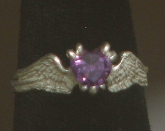 HEARTBEAT Sterling Silver Angel Fairy Bird Winged Ring w/ Color Change Simulated Alexandrite Ready to Ship 6 1/4