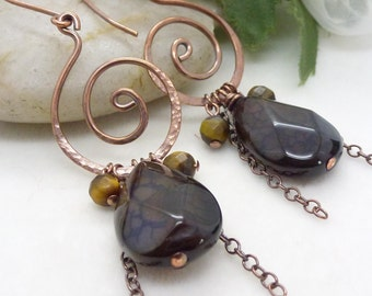Dark chocolate brown earrings, long dangle agate gemstone earrings with brown tigers eye, Hammered copper earrings, Oxidized copper jewelry