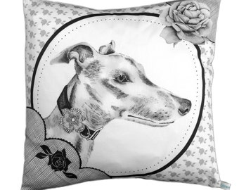 Chic Greyhound dog cushion pillow cover black and white