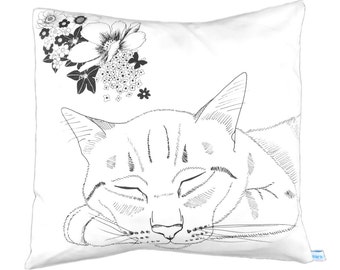 Cat cushion pillow cover black and white
