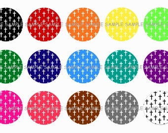 INSTANT DOWNLOAD...Religious Inspired...... Colorfull Crosses...1 Inch Circle Image Collage for Bottle Caps...Buy 3 get 1
