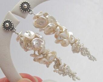 Long white keishi pearl earrings, sterling silver, bridal earrings, cascading pearl earrings