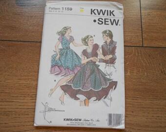 Vintage 1981 Kwik Sew  pattern 1159 uncut Ladies' SQUARE DANCE DRESS sz 6-8-10-12