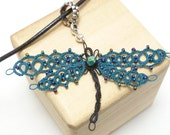 Tatted Lace Dragonfly Pendant -Majestic Dragonfly MTO custom color wings with glass beads
