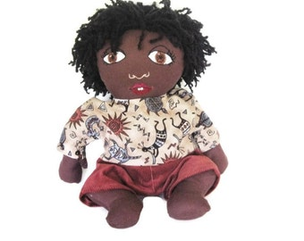 Boy Rag Doll of Color With 2 Outfits- Custom  Baby Doll - African American Doll - Baby Shower Gift