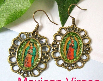 Our Lady of Guadalupe earrings mexico folk art catholic virgen mexicana virgin vintage style