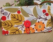 CHECKBOOK Cover with Button Closure, ID Window and Pen Loop
