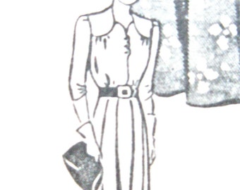 1940s Mail Order 1301 One-Piece Dress Vintage Sewing Pattern  Bust 36