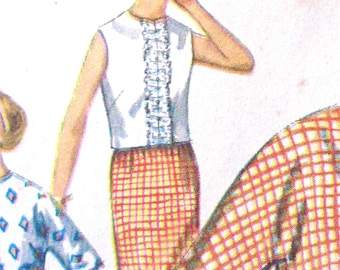 Uncut Early 60s Skirt and Blouse Vintage Sewing Pattern  Simplicity 4809  bust 34