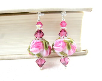 Pink Floral Earrings, Pink White Earrings, Nature Jewelry, Lampwork Glass Earrings, Garden Wedding, Flower Earrings - Spring Celebrations