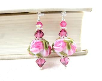 Pink Floral Earrings, Pink White Earrings, Nature Jewelry, Lampwork Glass Earrings, Garden Wedding, Flower Earrings - Spring Celebrations