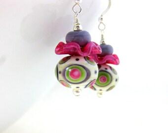 Funky Earrings, Lampwork Earrings, Colorful Jewelry, Pink Green Purple Earrings, Whimsical Earrings, Ruffles, Unusual Jewelry - Pirouette