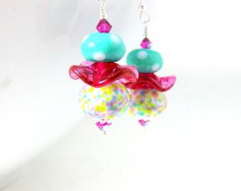Colorful Pastel Earrings, Ruffle Earrings, Glass Earrings, Lampwork Earrings, Purple Green Pink Polka Dot Earrings Funky Earrings  Ice Cream
