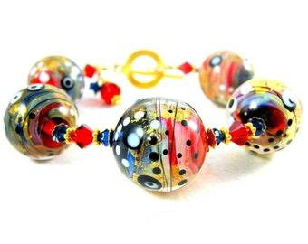 Chunky Glass Bracelet, Statement Jewelry, Art Glass Bracelet, Red Navy Blue Gold Jewelry, Lampwork Bracelet, Abstract Funky Gold -  Galaxy