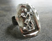 Statement Ring Silver Fairy Wax Seal Jewelry Size 7