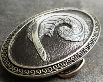Women's Belt Buckle Pewter Metallic Feather