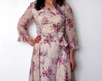 French vintage 1970s floral dress - medium M
