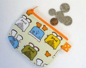 CLEARANCE SALE Toasters Mini Coin Purse Zipper Change Purse Fabric Coin Purse Metro Cafe Toast Monaluna Kawaii Handmade