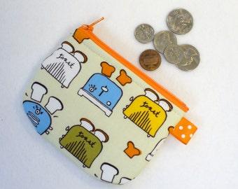 Toasters Mini Coin Purse Zipper Change Purse Fabric Coin Purse Metro Cafe Toast Monaluna Handmade