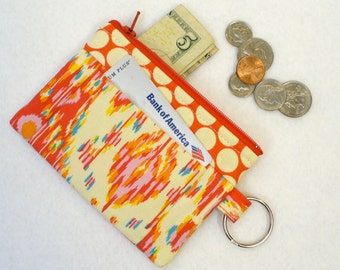 CLEARANCE SALE! Red Ikat Fabric Amy Butler Fabric Coin Purse Kasbah Zipper Change Purse Card Slot Fabric Wallet Lark Persimmon Handmade MTO