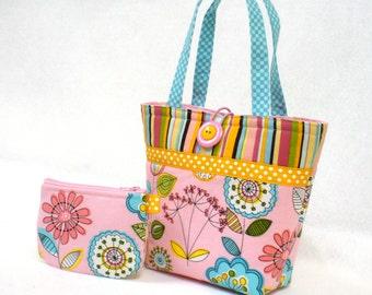 Pink Floral Fabric Little Girls Purse Coin Purse Set Mini Tote Bag Childs Purse Kids Bag Michael Miller Turquoise Orange MTO